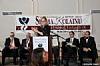 Dr. Joshua Weinstein, Menachem Lubinsky, Queens Borough President Melinda Katz (Speaking), NYC Councilmember Kalman Yeger, Ezra Friedlander