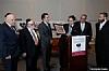 Menachem Lubinsky, Dr. Joshua Weinstein, NYS Senator Michael Gianaris (receiving award), NYC Councilmember Kalman Yeger, Peter Rebenwurzel, Ezra Friedlander