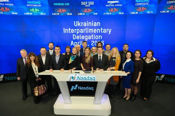 Delegation ringing NASDAQ Opening Bell, NASDAQ, , ezra friedlander
